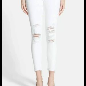 J brand low rise white cropped demented skinny's